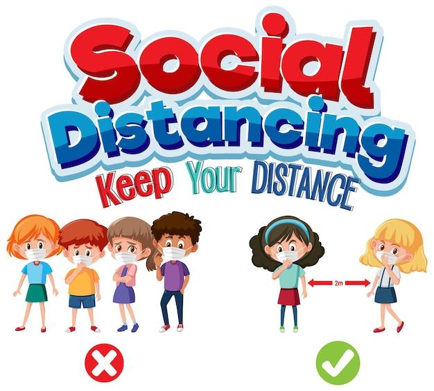 Bannière de distanciation sociale avec personnage de dessin animé