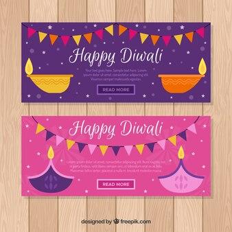Bannière diwali colorée