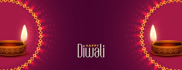 Bannière de diwali heureux brillant avec diya réaliste