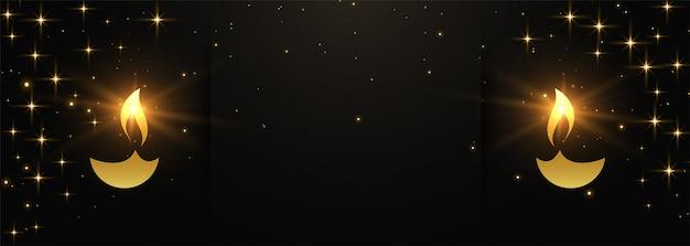 Bannière diwali heureux noir et or avec espace de texte
