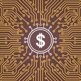 Bannière dolar sign over over moterboard backgroung sur puce de réseau