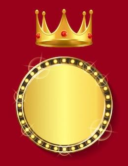 Bannière dorée avec couronne d'espace vide avec gemme