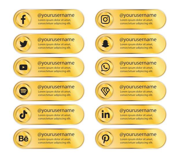 Bannière dorée de luxe pour les médias sociaux