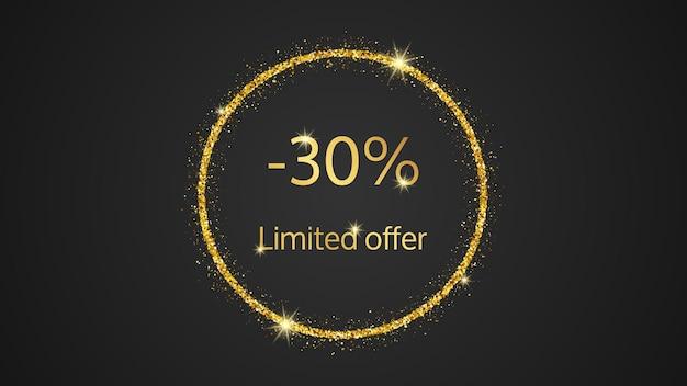 Bannière dorée à offre limitée avec une remise de 40 %. numéros d'or dans un cercle scintillant d'or sur fond sombre. illustration vectorielle