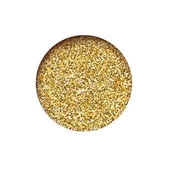Bannière dorée de paillettes rondes, texture de poussière étincelante de trou