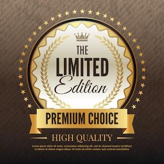 Bannière dorée premium, modèle de luxe de service de haute qualité et modèle de plaque de choix