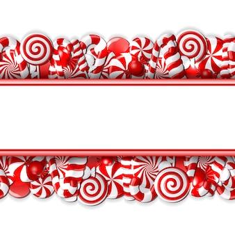Bannière douce avec des bonbons rouges et blancs