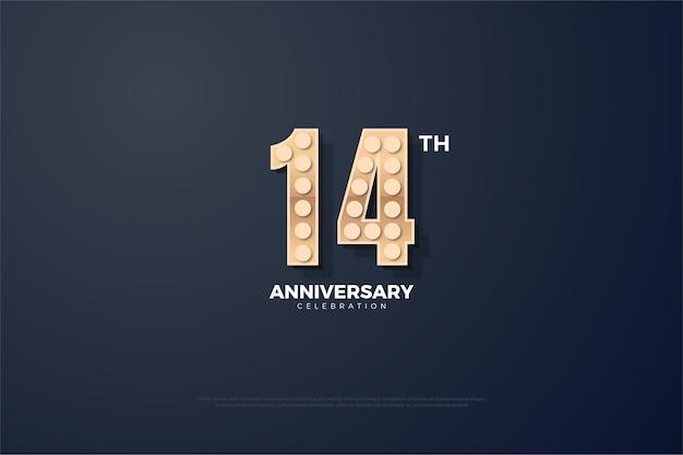 Bannière du 14e anniversaire avec des numéros texturés