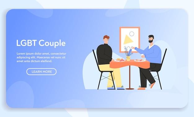Bannière du concept de couple lgbt
