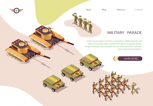 Bannière du défilé militaire avec l'armée et la base de skeleton