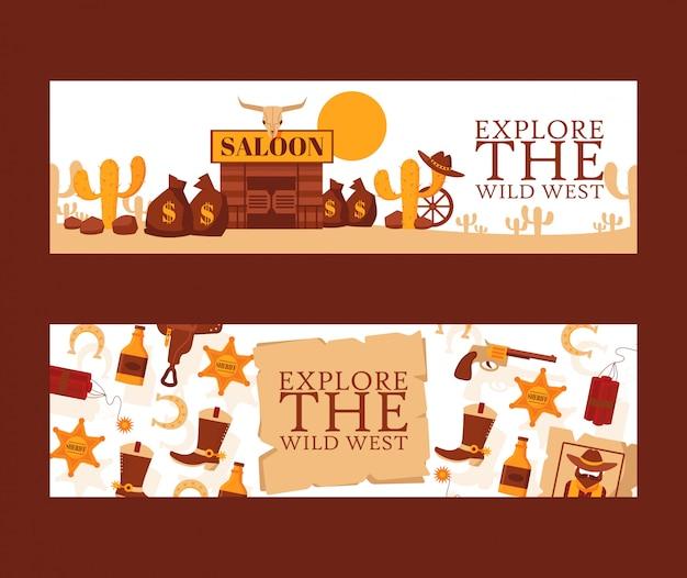 Bannière du far west, illustration. symboles de style dessin animé d'aventures de cow-boy occidental américain. saloon dans le désert mexicain, icône du shérif.