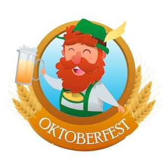 Bannière du festival et des chopes à bière octoberfest