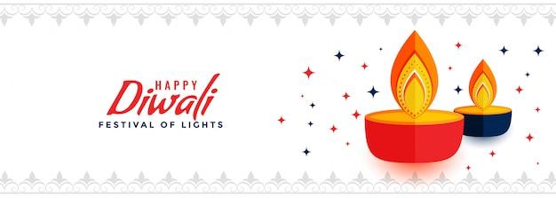 Bannière du festival créatif joyeux diwali des lumières