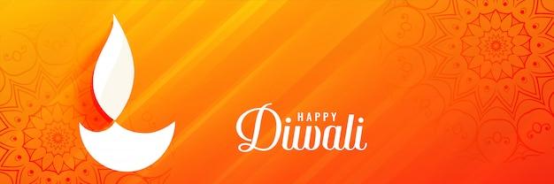Bannière du festival de diwali orange brillant avec diya