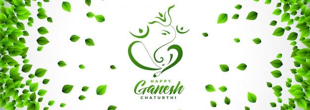 Bannière du festival ganesh chaturthi heureux en style de feuilles éco
