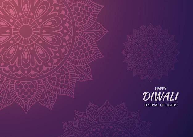 Bannière du festival hindou diwali heureux, carte