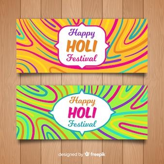 Bannière du festival holi dessiné à la main