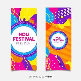 Bannière du festival de holi plat