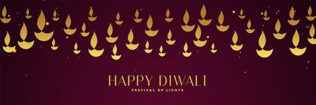 Bannière du festival joyeux diwali avec diya doré