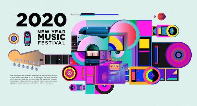 Bannière du festival de musique pour la fête et l'événement du nouvel an 2020