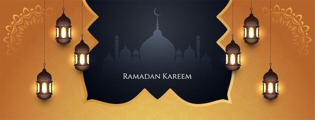 Bannière du festival religieux élégant ramadan kareem