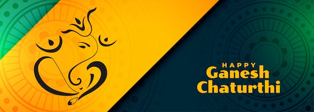 Bannière du festival traditionnel indien heureux ganesh chaturthi