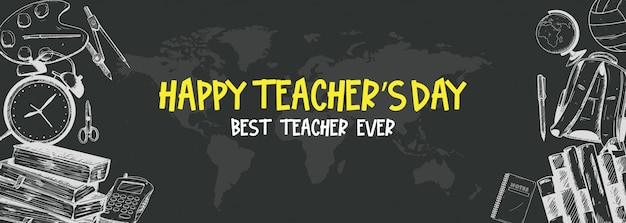 Bannière du jour du professeur heureux