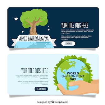 Bannière du jour de l'environnement mondial avec un arbre