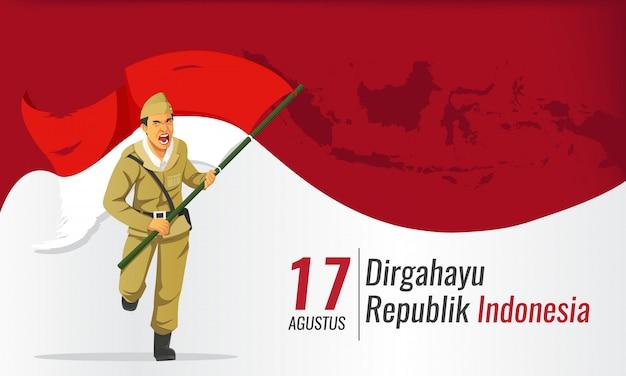 Bannière du jour de l'indépendance de l'indonésie avec héros portant le drapeau