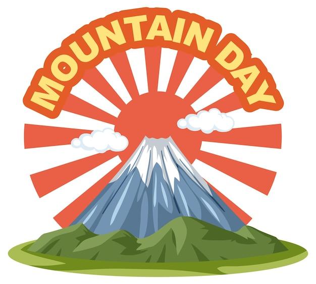 Bannière du jour de la montagne au japon avec le mont fuji et les rayons du soleil