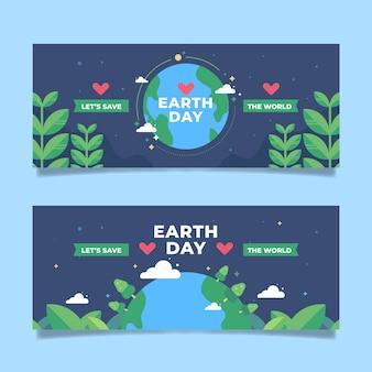 Bannière du jour de la terre design plat