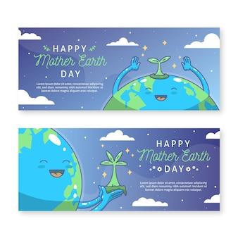 Bannière du jour de la terre mère dessiné à la main avec une planète heureuse