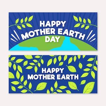 Bannière du jour de la terre mère dessiné à la main