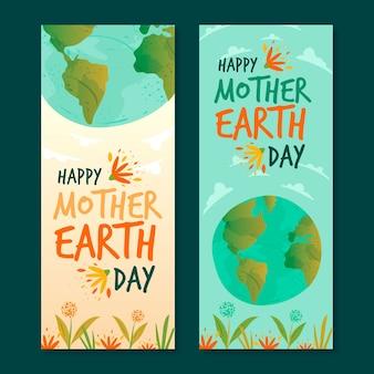 Bannière du jour de la terre mère dessinée à la main