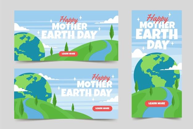 Bannière du jour de la terre mère plate