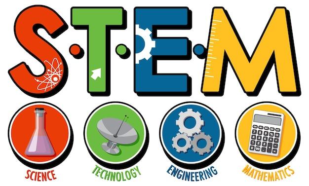 Bannière du logo de l'éducation stem sur fond blanc