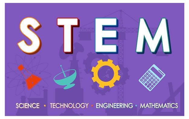 Bannière du logo de l'éducation stem avec fond violet