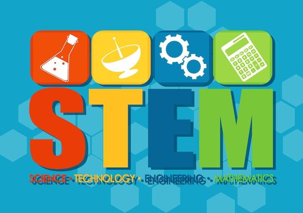Bannière du logo de l'éducation stem avec des icônes d'apprentissage