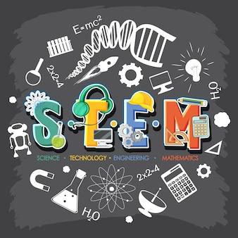 Bannière du logo stem avec des éléments d'icône d'apprentissage