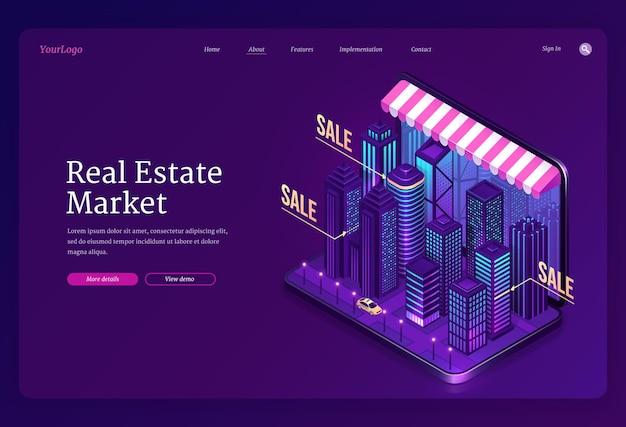 Bannière du marché immobilier. service en ligne de recherche de maisons et d'appartements à vendre ou à louer.