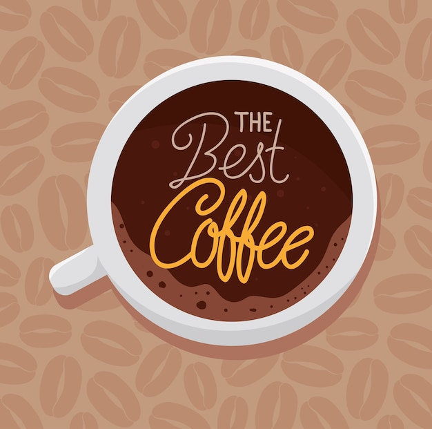 Bannière du meilleur café avec vue aérienne de la conception d'illustration de tasse en céramique