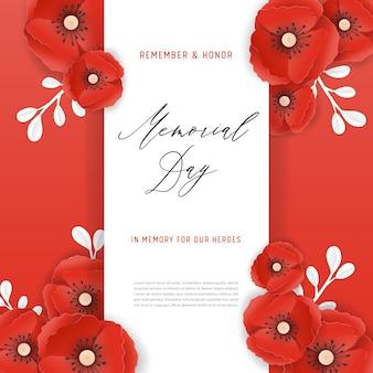 Bannière du memorial day avec des fleurs de pavot coupées en papier rouge. affiche du jour du souvenir avec le symbole des coquelicots pour flyer, brochure, dépliant. illustration vectorielle