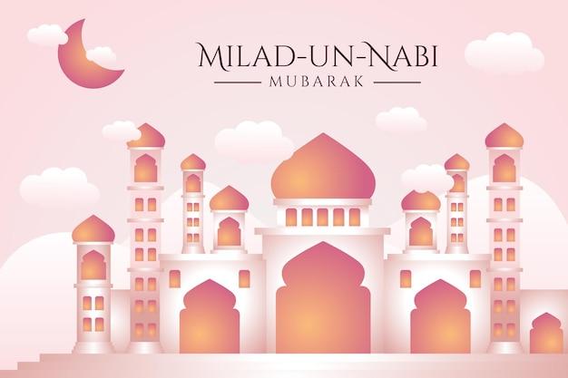 Bannière du mois de naissance du prophète avec fond d'illustration de la mosquée