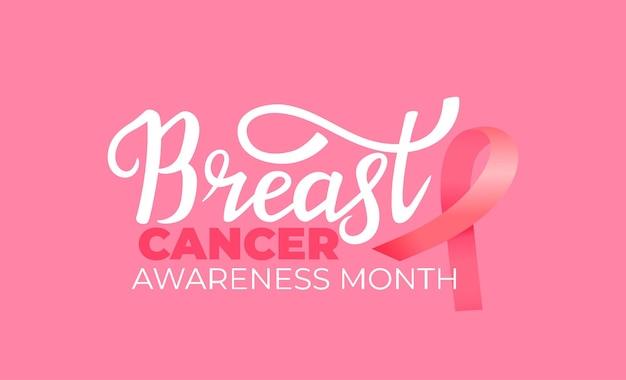 Bannière du mois national de sensibilisation au cancer du sein avec ruban rose et lettrage dessiné à la main.