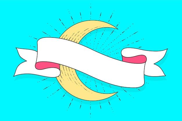 Bannière du mois sacré musulman avec ruban, lune. carte de voeux et affiche. modèle de ruban.