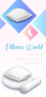 Bannière du monde des coussins, pile de coussins moelleux blancs