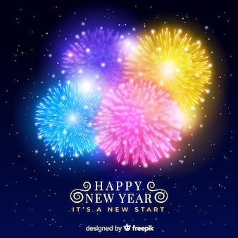 Bannière du nouvel an 2019 avec feux d'artifice