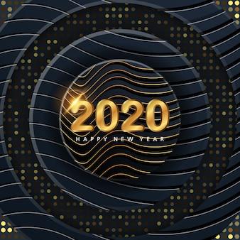 Bannière du nouvel an 2020 avec fond de luxe 3d abstrait