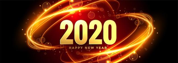 Bannière du nouvel an abstrait 2020 avec des sentiers de lumière