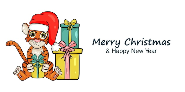 La bannière du nouvel an avec l'image du tigre en chapeau de père noël rouge et des cadeaux est le symbole du nouvel an chinois. joyeux noel et bonne année. style de dessin animé illustration vectorielle